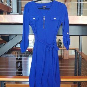 Soho Apparel LTD Cobalt blue PS dress with belt.